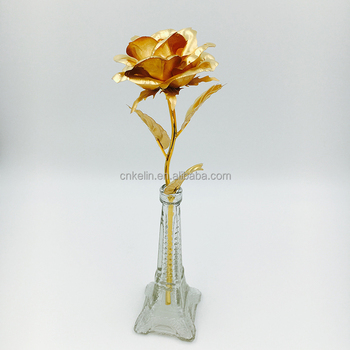 25cm 24 Carat Rose Dipped In Gold With Eiffel Tower Stand Vase Buy