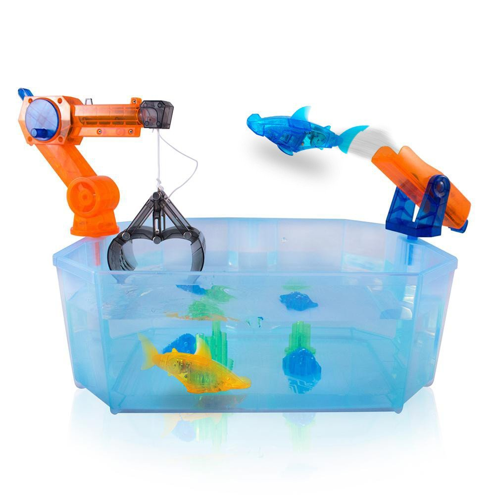 Blue & Orange Shark: HEXBUG Aquabot 2.0 The Harbor Crane and Fish Launcher Play Set