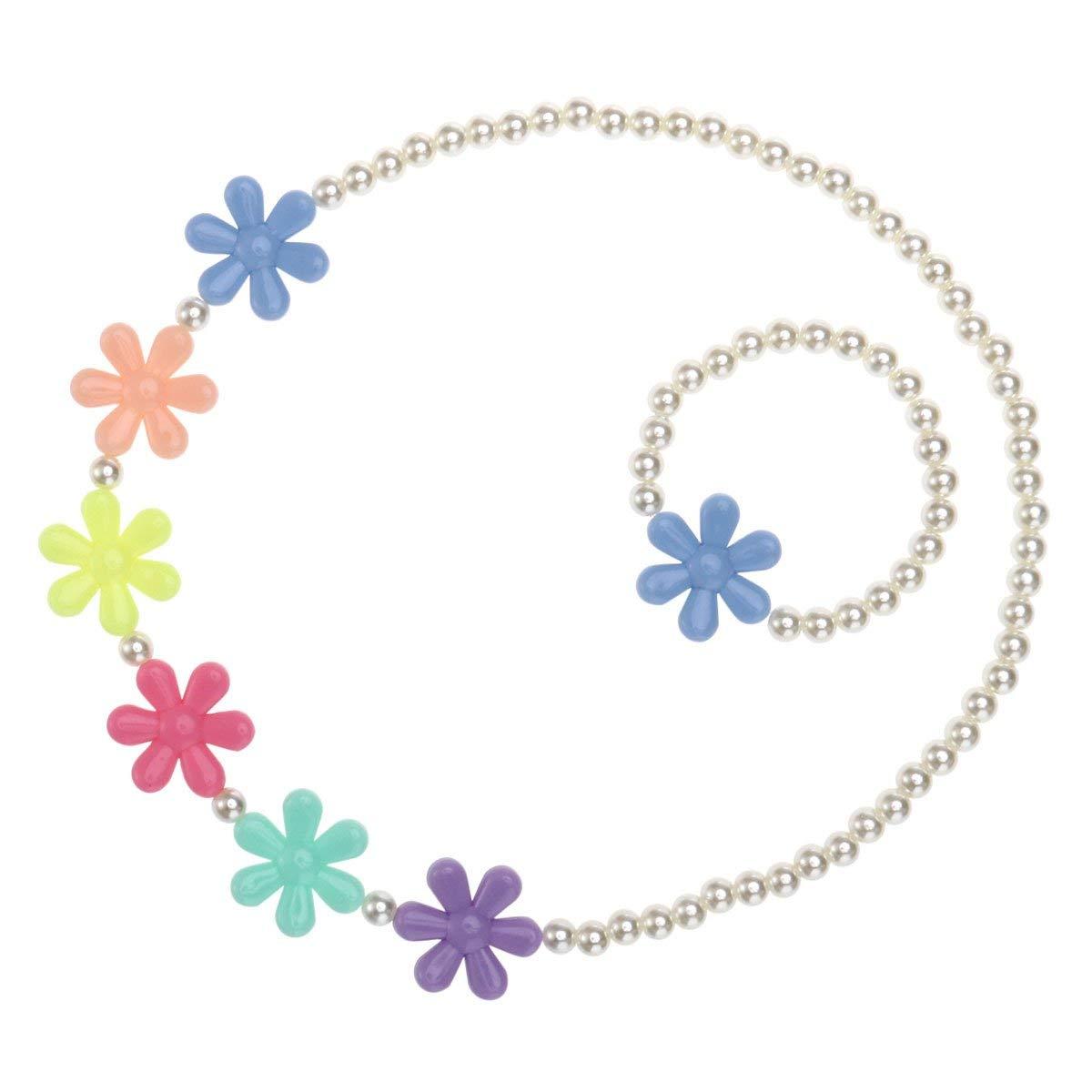 Tinksky Girls Beaded Necklace Bracelet Lovely Children Snowflake Beads Jewelry Set for Kids Jewelry - Christmas Birthday Gift for Children (Random Flower Color)