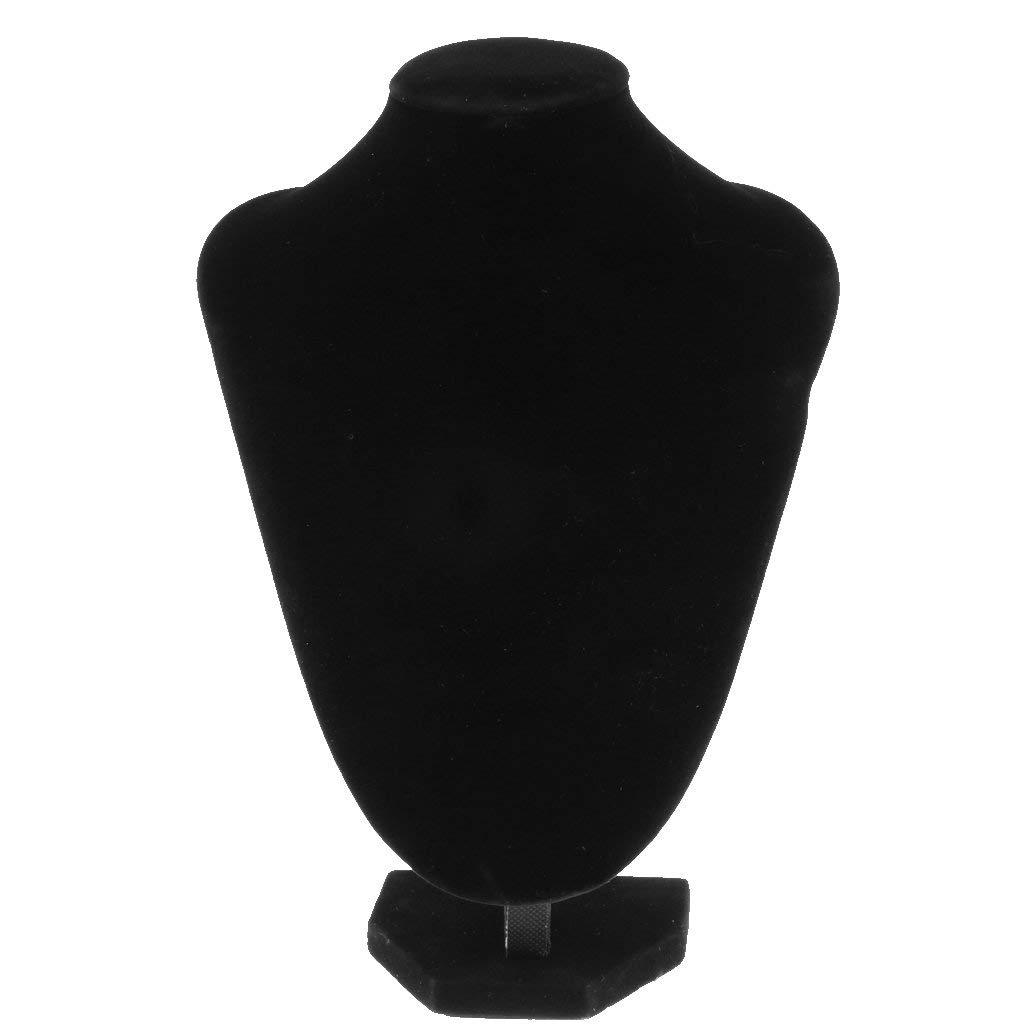 Baoblaze Elegant Black Velvet Necklace Display Mannequins, Necklace Display Bust Stand - 4 Sizes to Choose - #c 21×16 cm