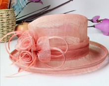 Organza vintage fashion ladies iglesia sinamay sombreros de flores diseño ladies wedding sombreros