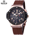 SKONE Male Date Chronograph Watches Men Silicone Strap Big Face Waterproof Sport Watch Casual Army Military