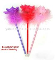 Beautiful Rose Pen With Feather For Wedding