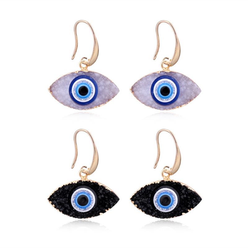 Free shipping novelty turkish devil eye earrings black resin drop earrings