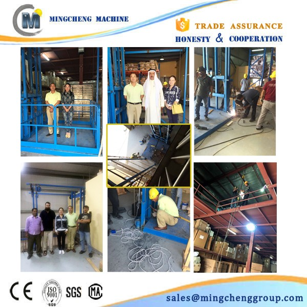 guide rail lift Vertical Chain Guided Hydraulic Cargo Lift