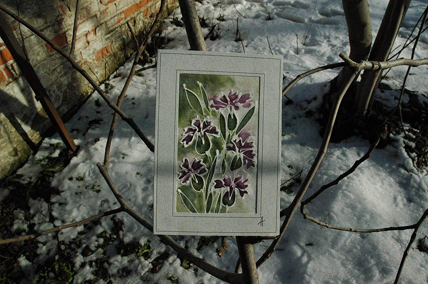 Sale!!!15% Off,Purple Dianthus Card, Silk Painting Greetings Card, Dianthus Gift wild Flower Card, Blank Card, Dianthus Mother's Day, Mom day, Happy Birthday card.