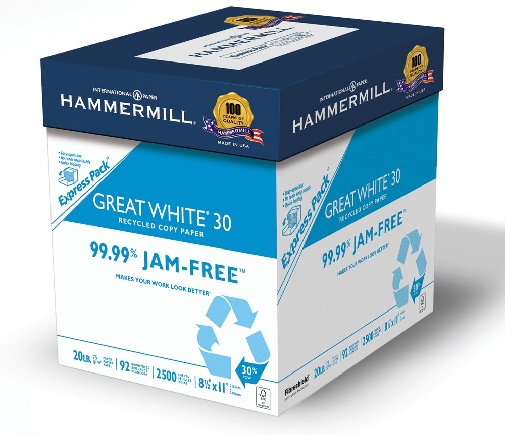 Hammermill Paper, Great White 30% Recycled Copy, 20lb, 8 1/2 x 11, Letter, 92 Bright, 2500 Sheets/Express Pack (067780) Made In The USA