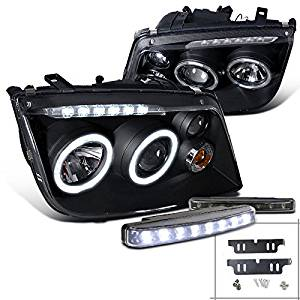 Get Quotations For Vw Jetta Bora Black Halo Projector Headlights W Driving Led Fog Lamps