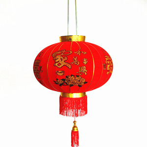 Traditional Outdoor Hanging Waterproof Nylon Chinese Fabric Red Lanterns For New Year Festival for sale