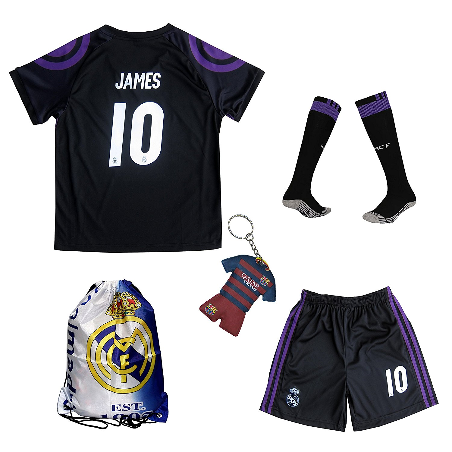 4d53a9729 ... Fanatics Authentic Certified. 299.95. 2016 2017 Real Madrid James  Rodriguez  10 Away Black Football Soccer Kids Jersey   Short   Sock   Soccer  Bag Youth ...