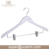 HRW-660BW white wooden suit clips clothes hanger with chrome clips