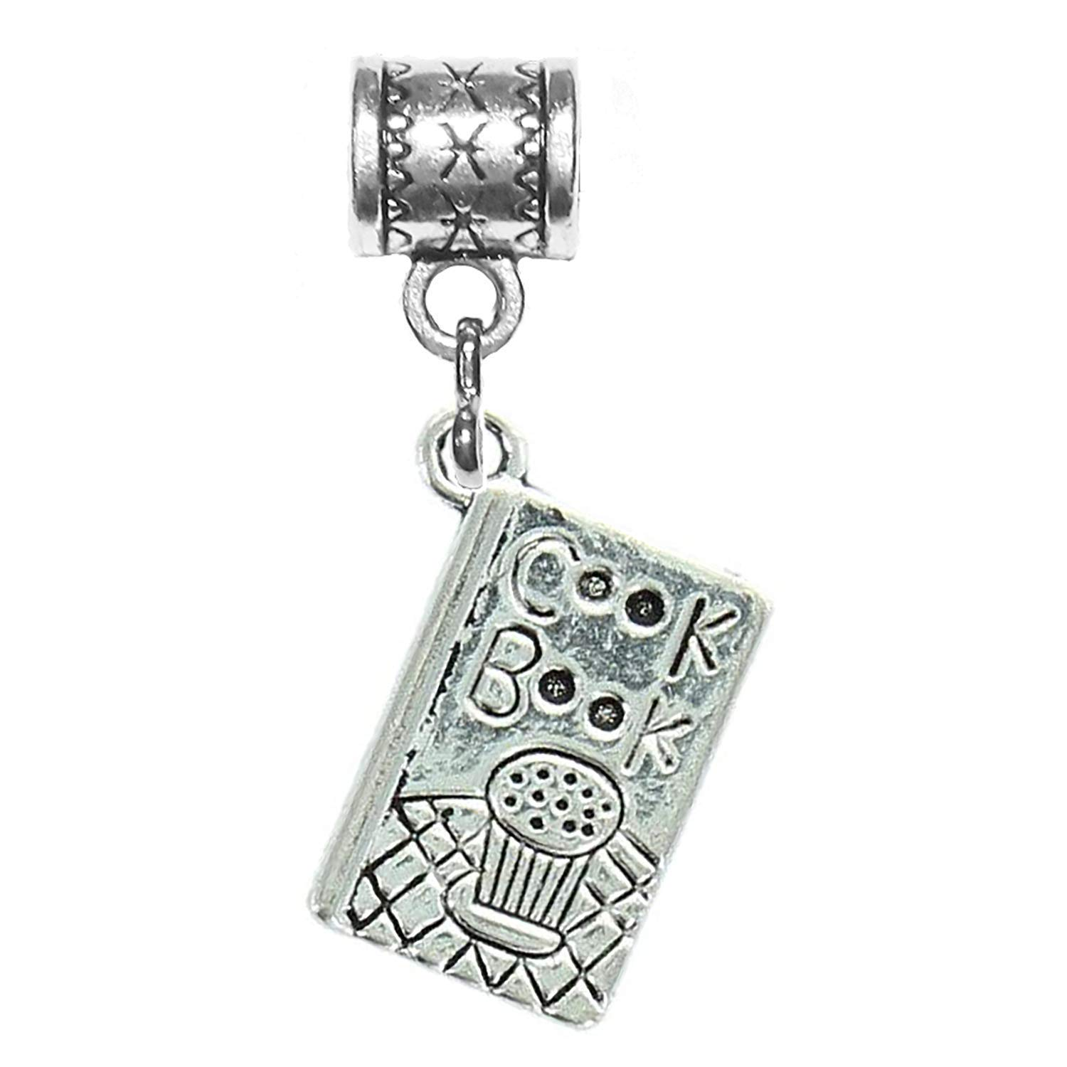 """""""Cook book charm"""" is a Tibetan Silver Hanging charm by Mossy Cabin for large hole snake chain charm bracelet, or add to a pendant necklace, neck chain or key chain"""