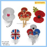 Wholesale fashion poppy pin charm crystal brooch pin