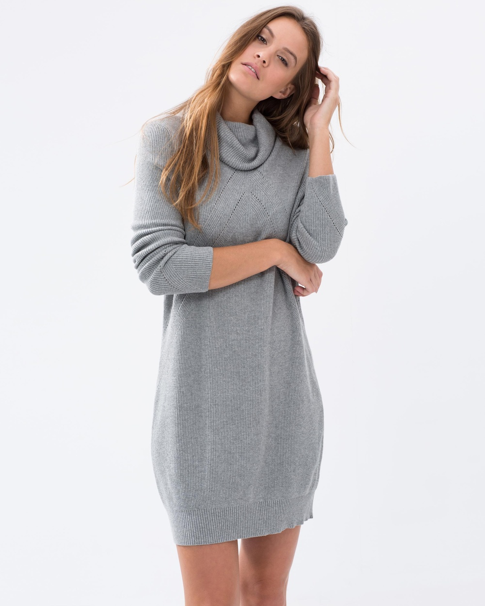 Acylic Heather Grey Knit High Neck Loose Fit Winter