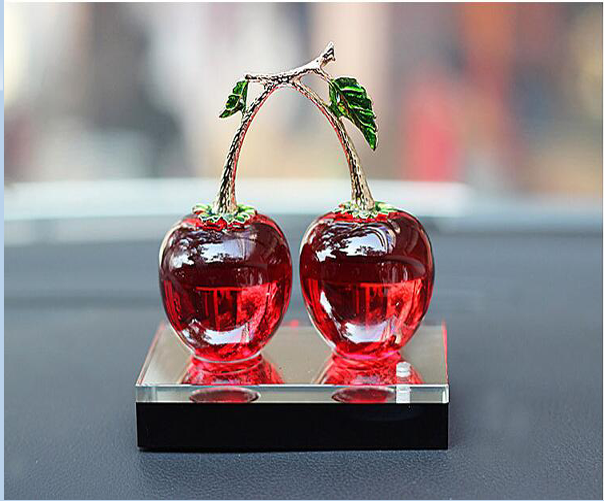 YX294 K9 crystal car ornaments cherry perfume seat crystal perfume bottle for wedding souvenirs