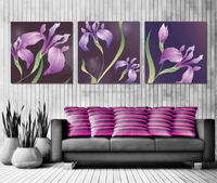 3 flower wall canvas art print modal picture painted purple room painting back to the future life