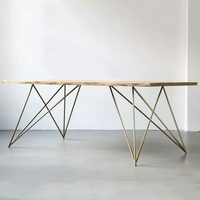 Industrial furniture large rectangular solid ash wood dining table with hairpin legs
