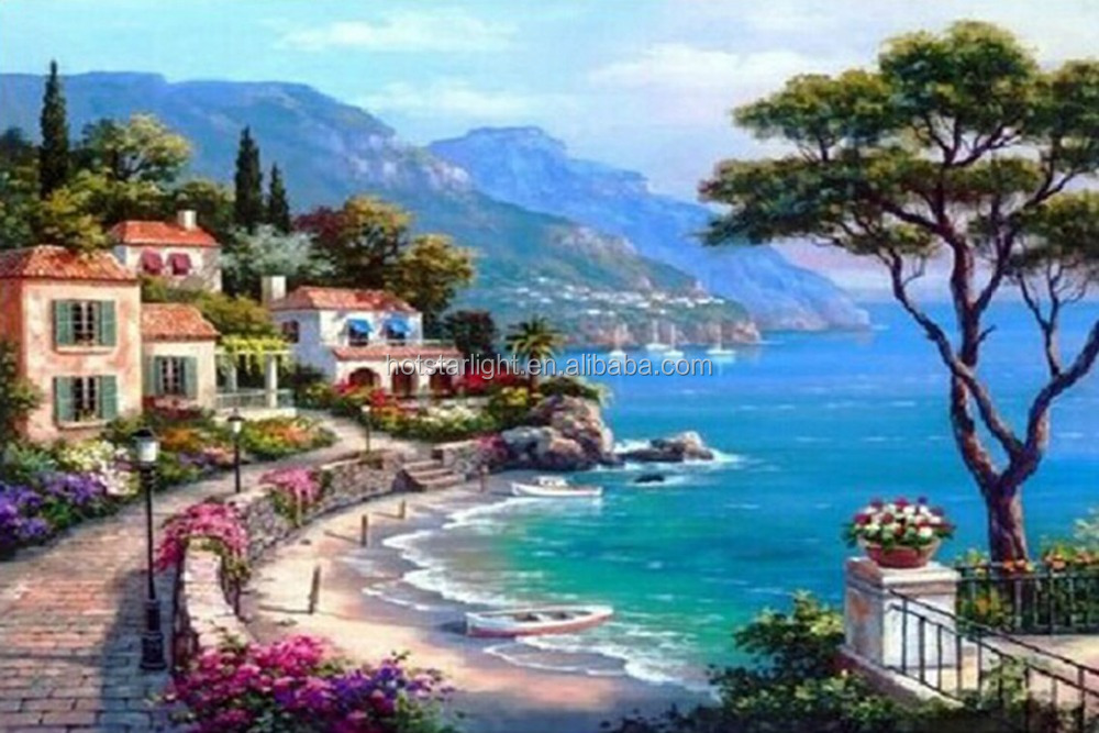 20x30cm small size square stone sea and house scenery mosaic Paintings