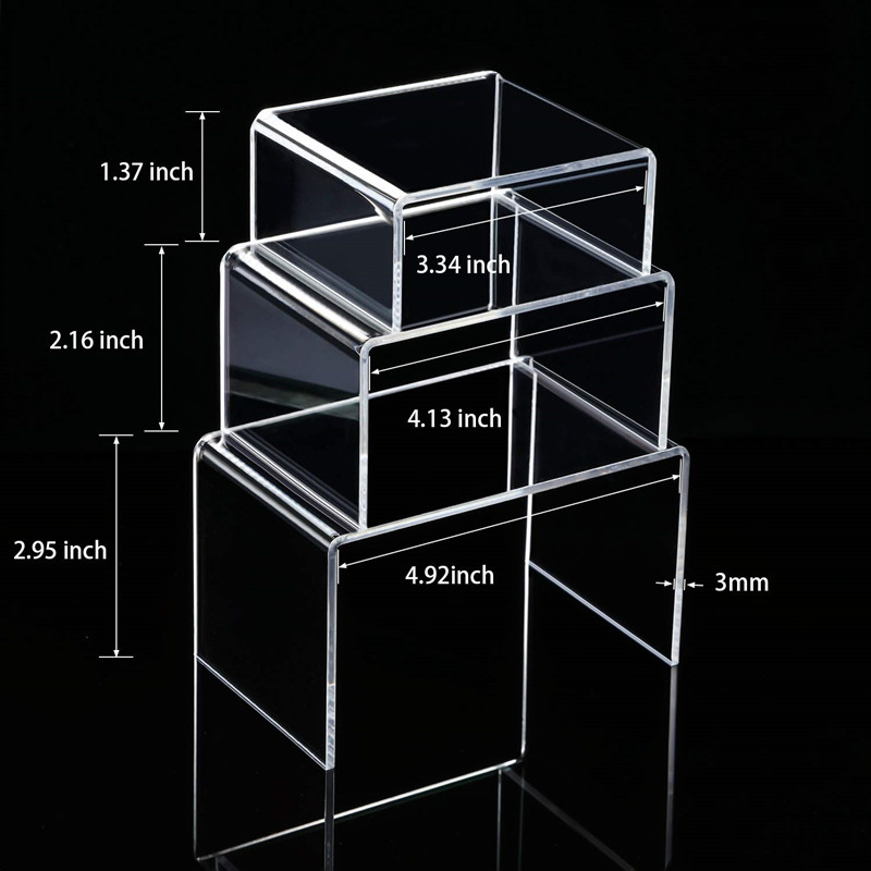 Custom clear U shaped retail acrylic cosmetic display bridge