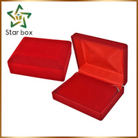 Red color square flocking jewelry box, Velvet packaging box for jewelry