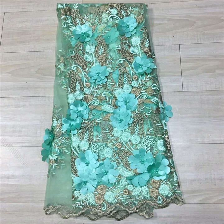 2017 Green embroidered 3D beaded swiss lace african fabric manufacturers guangzhou