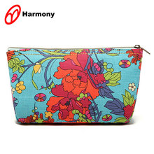 Customized multicolor printed girls coated canvas cosmetic bag