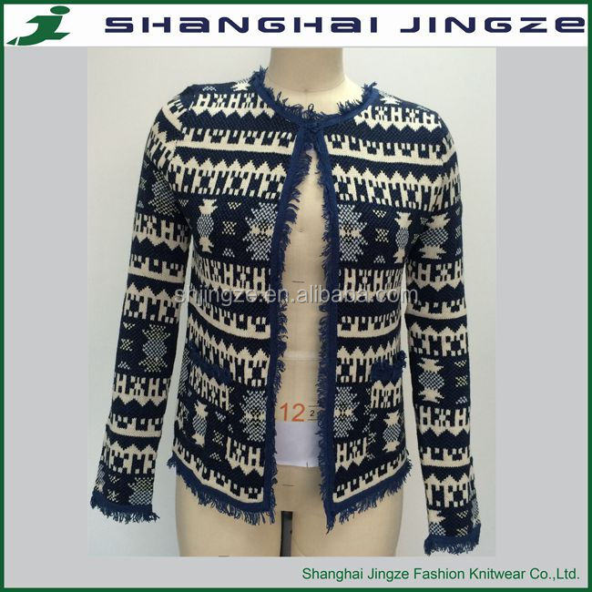 Ladies Jacquard Knitting Patterns Sweater Drawing Long Sleeve ...