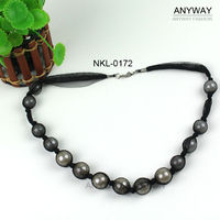 Handmade Black Mesh Fabric Covered Bead Necklace