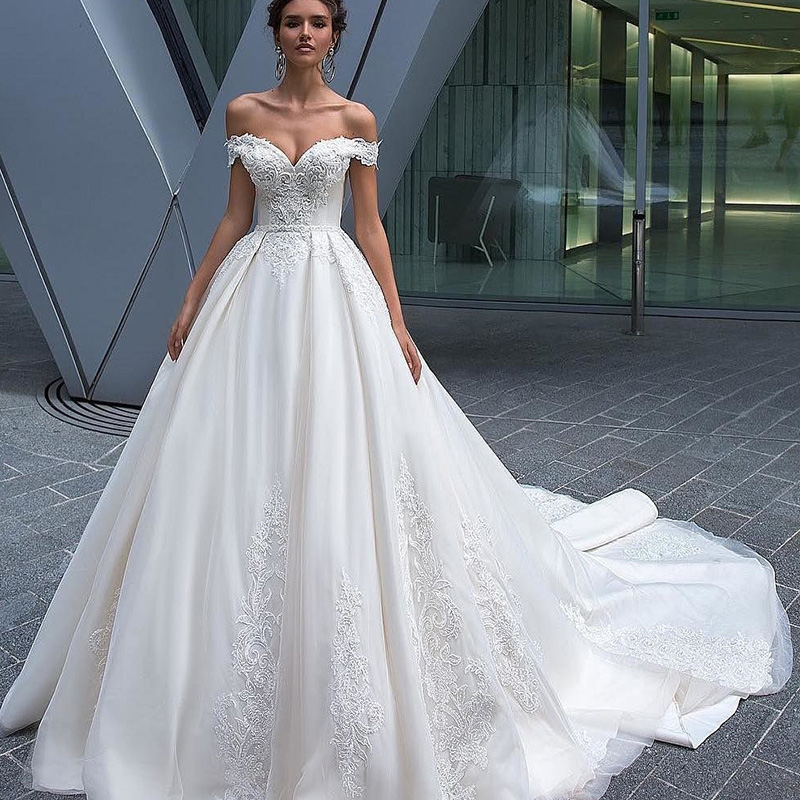 Off-Shoulder 2019 Wedding Dress Bridal Gown a line lace fabric Bridal Dresses