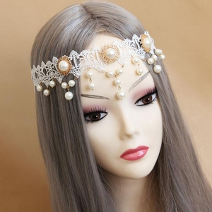 White Lace Pearl Crown Tiara Forehead Frontlet Browband Headpiece