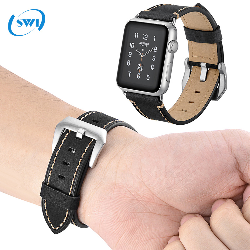 Limited Edition Charm leather western watch band OEM wide leather watch bands for men iwatch band apple