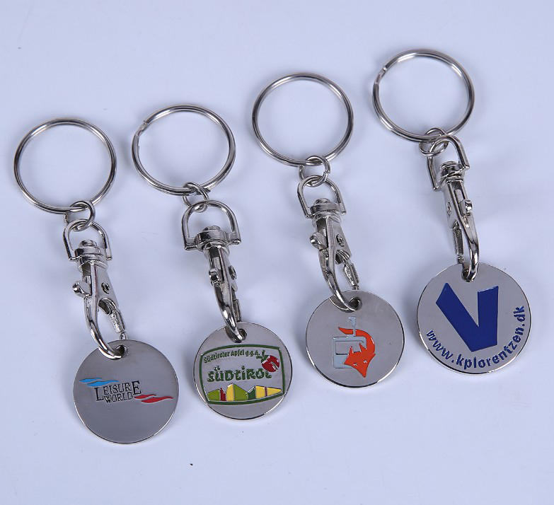 Oempromo custom metal trolley coin shopping cart token keychain