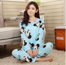 Novas mulheres longo-luva caixa adolescente sleepwear conjuntos de pijama feminino pijamas senhora Pijamas nightgowns pijamas roupa em casa