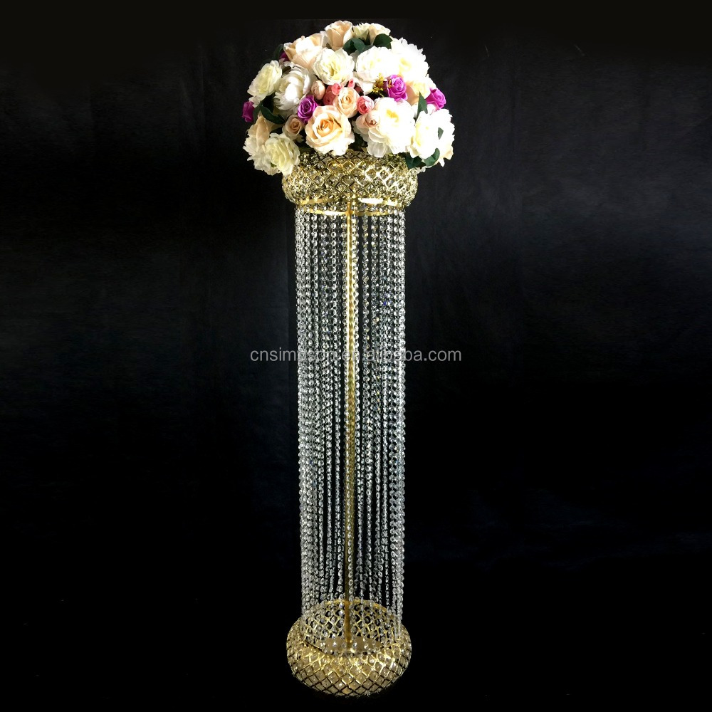 European style tall wedding gold and crystal beads pillar and flower stand 2016