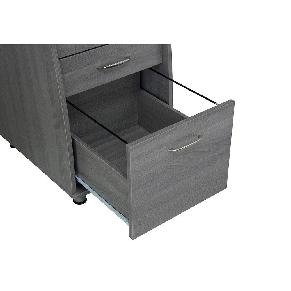 MyEasyShopping Modern Classic Design Grey MDF Multifunctional Office Desk With File Cabinet Cabinet Storage Desk Office