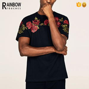 China Apparel OEM Branded Black Men's t-shirts Rose Embroidery Shirt