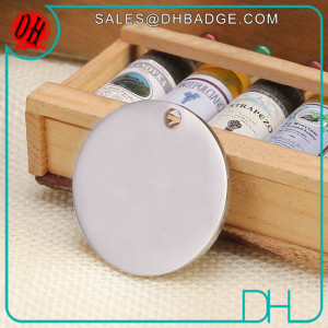 Custom Circle Round Brushed Stamped Blank Metal Dog Tags