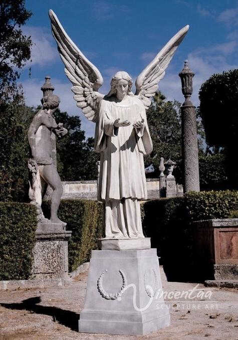 Jard n de estatuas de m rmol de piedra al por mayor grande ornamento estatua del ngel - Estatuas de jardin ...