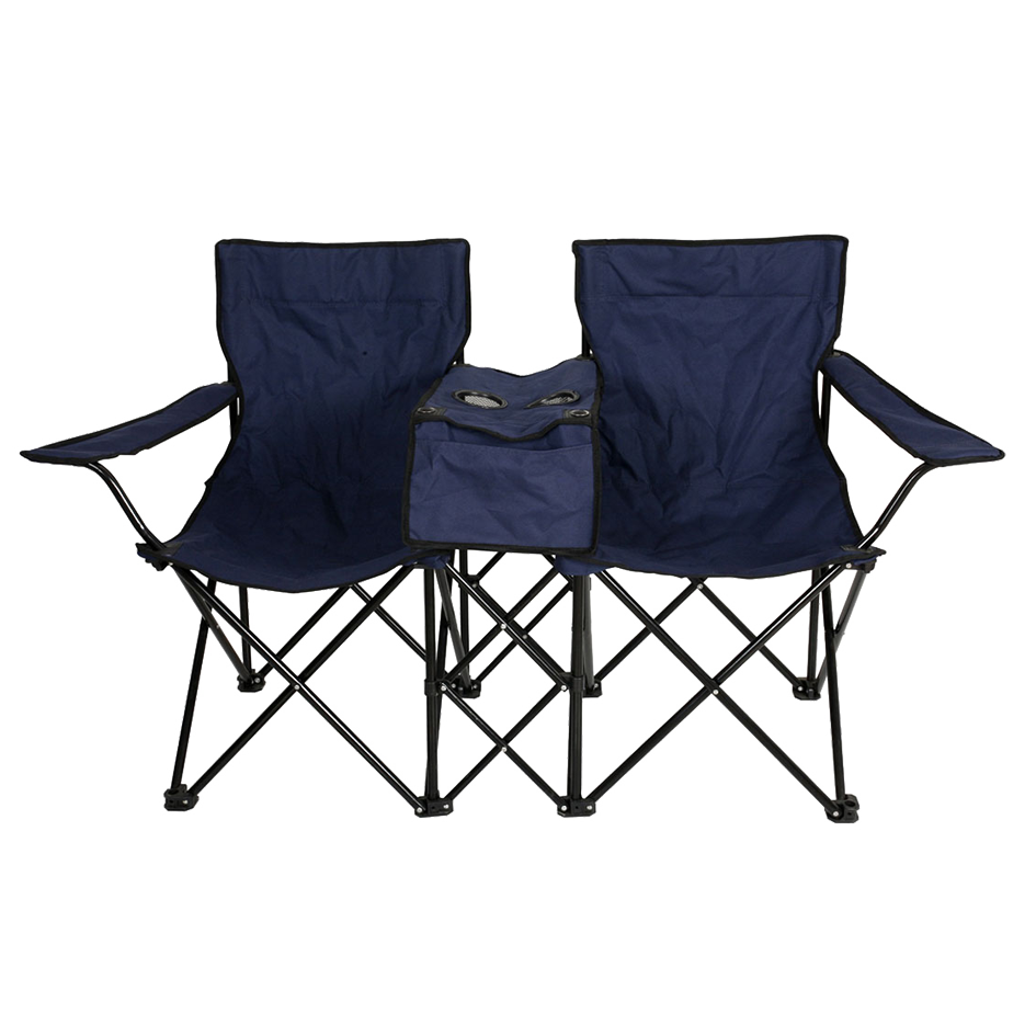 Custom Portable Twin Folding Double Seat Beach Camping Chair with Cooler Bag Table