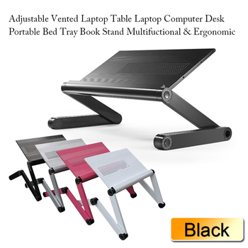 Adjustable Vented Height Laptop Stand Table/ E Portable Bed Tray Book Stand,nottable  Foldable