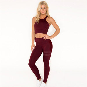 2 pcs Set Gym Yoga Wear Sport Fitness Seamless Energy Legging and Knitted Bra  Set Ropa 32339ce8d