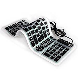 9334216873d Get Quotations · Folding Portable USB Wired Keyboard Silicone Flexible Soft  Dustproof and Waterproof Mute Notebook Desktop Keyboard Soft