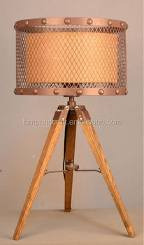 bronze tripod lamp wood tripod table lamp with metal and fabric shade for australia - Tripod Table Lamp