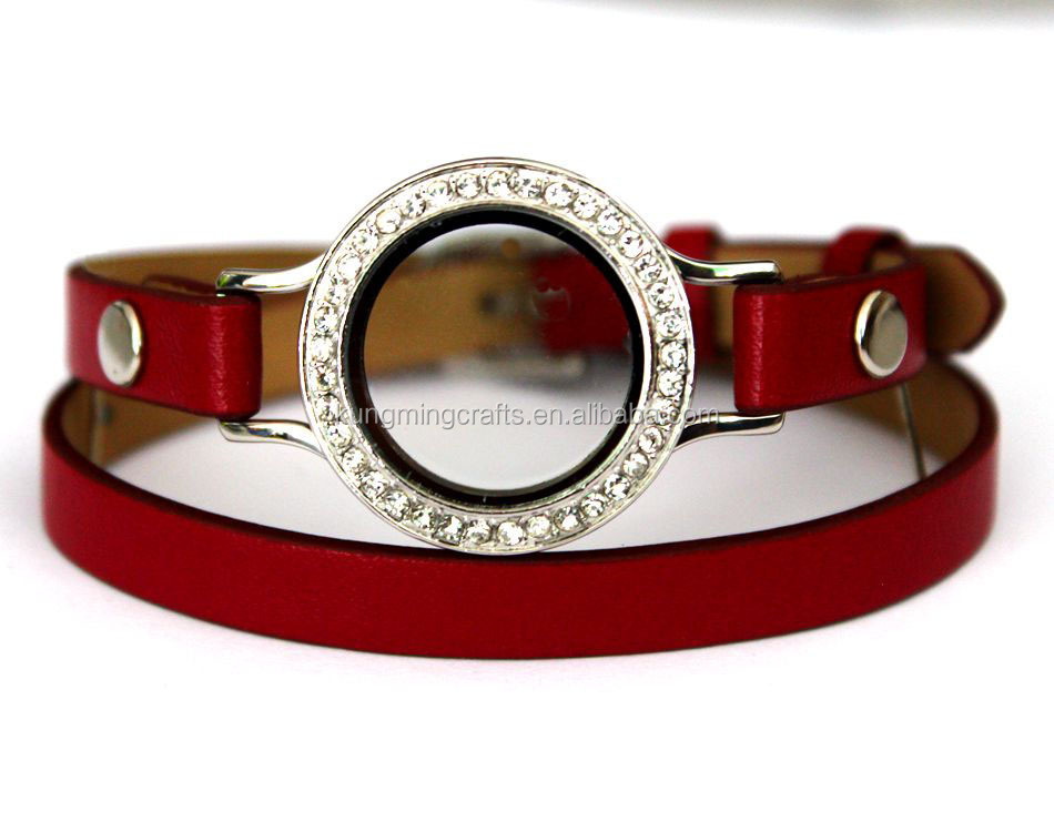 Fashion Stainless steel Jewelry Glass Watches locket Design Strap Genuine Leather Bracelets