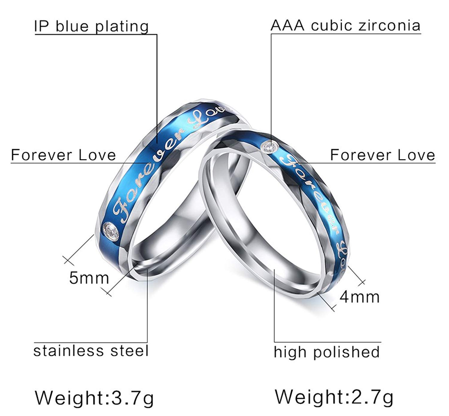 9ffe4eeb60 Get Quotations · His & Her Forever Love Engraved Stainless Steel Couple  Matching Rings Band Set for Engagement Promise