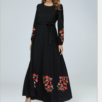 2019 Modest Fashion Maxi Ladies Long Sleeve Women Muslim Long Dress Turkey
