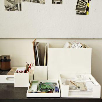 Custom White Acrylic Desk Accessories Organizer Lucite Desk Set