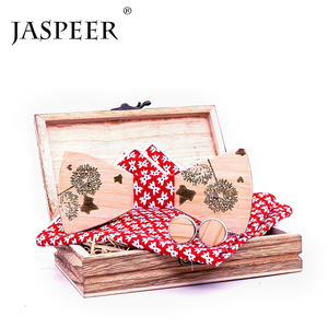 JASPEER Bow tie hardware the design for wedding fashion Custom Wood bow tie gift set