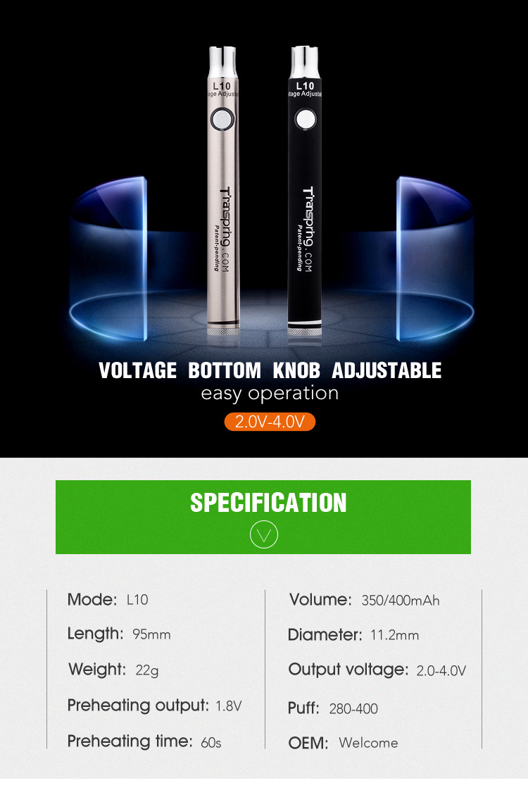 bacon products L10 18650 vv mod cbd oil battery