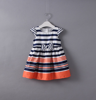 BN031 Baby Girls Dress 2017 New Casual Striped short sleeve princess frock